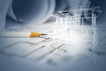 concept of dream house draw by designer with construction drawin