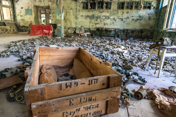 Gas masks in Pripyat, Chernobyl