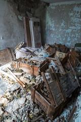 Gas masks in Pripyat, Chernobyl