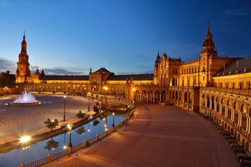 Spain Square (Plaza de Espana) after sunset. Seville, Spain