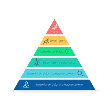 Pyramid for infographics. Vector chart, diagram with 6 steps, options.