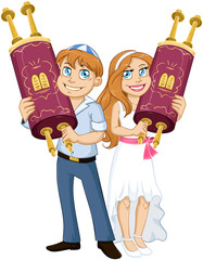 Jewish Boy And Girl Hold Torah For Bar Bat Mitzvah