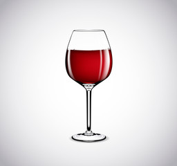 Red wine in a glass isolated on white background.