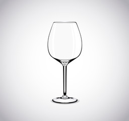 Empty wine glass. Isolated on white background.