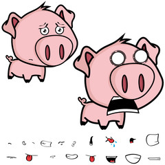 cute little big head pig cartoon set in vector format