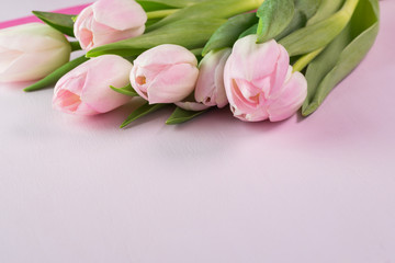 Greetings for Mothers Day with tulips.