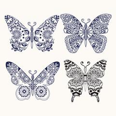set of butterflies zentangle stylized hand drawn illustration