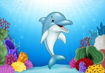 Aluminium Prints Submarine Cute Dolphin with beautiful underwater world