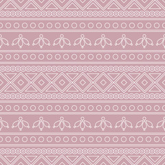 Seamless vector pattern.  Traditional ethno background in pink colors. Series of National, Folk, Ethnic and Traditional Seamless Patterns.