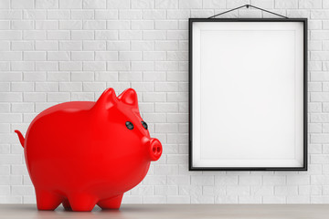 Red Piggy bank style money box in front of Brick Wall with Blank