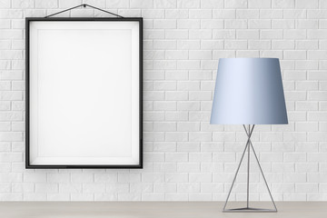 Modern Fashion Table Lamp in front of Brick Wall with Blank Fram