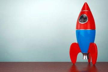 Old Style Photo. Childs Toy Rocket. 3d rendering