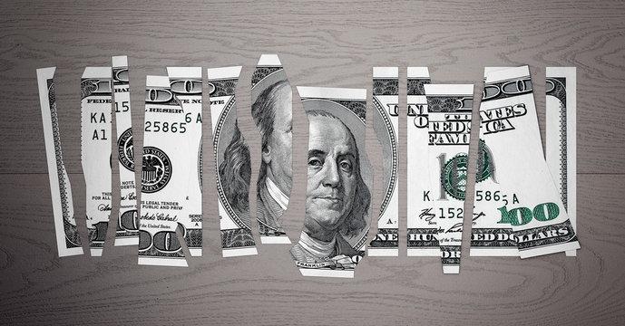 Devalued Dollar Concept. Shred Dollar Bill. 3d Rendering