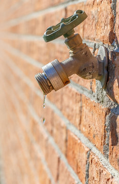 Leaky Spigot: Picture of an old fashioned outdoor house spigot that has sprung a leak.