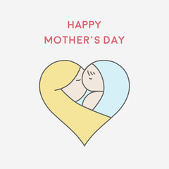 Happy Mother's Day greeting card minimal flat design, vector illustration eps 10