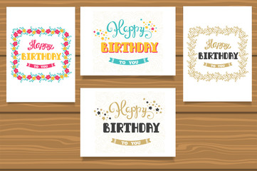 Happy Birthday. A set of templates for birthday cards. Hand lettering in flower frame.