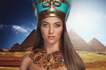 Woman near pyramids