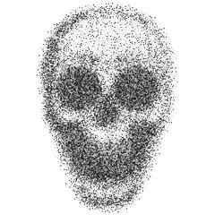 Skull vector.Skull from particles.Abstract skull illustration isolated.