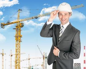 Businessman in helmet