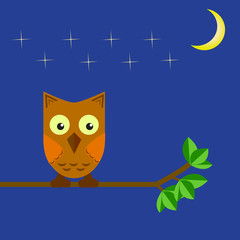 The owl sits on a tree branch in the night sky and the moon