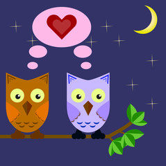 two owls in love sitting on a tree branch in the night sky and the moon