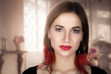 Beautiful woman portrait close-up, perfect face with clean skin, red lips, shoulders, peach cheeks, rich expensive fashion style look, expressive luxury model, thinking posing