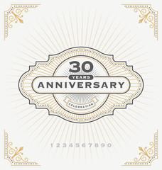 Vintage anniversary celebration message emblem label. Vector illustration