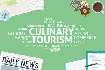 vector culinary tourism concept,template