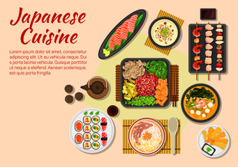 Seafood and meat dishes of japanese cuisine icon