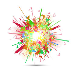 Abstract vector explosion. Colorful glowing blast. Isolated explosion. Abstract explosion background. Bright colorful sparkle element.