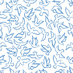 Flying birds seamless pattern with blue doves