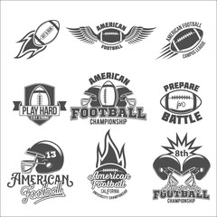 Set of  american football logo labels