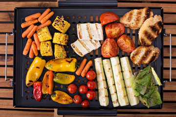 Grilled vegetables on a pan