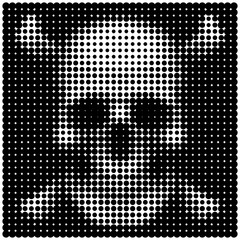 Human skull and crossbones in halftone dots style Pirates