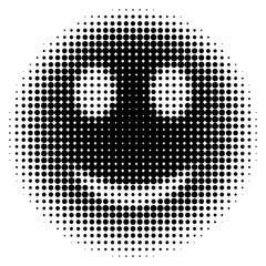 Smiley face in halftone dots style