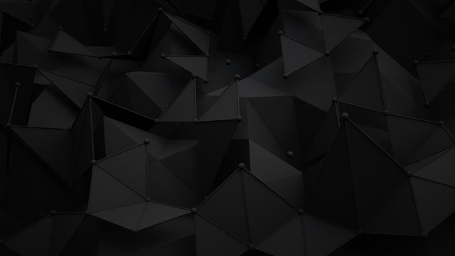 Black polygonal surface 3D rendering background