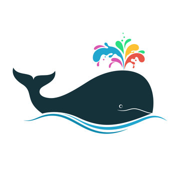 Whale with multicolored fountain blow for creativity, diversity, joy, imagination concept
