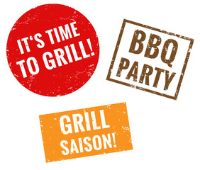 It's time to grill,	 BBQ Party, Grill Saison Stempel