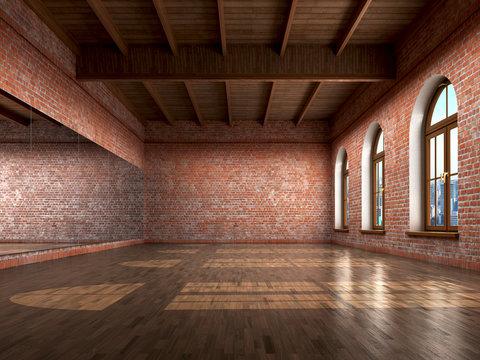 Big empty room in grange style with wooden floor, bricks wall, b