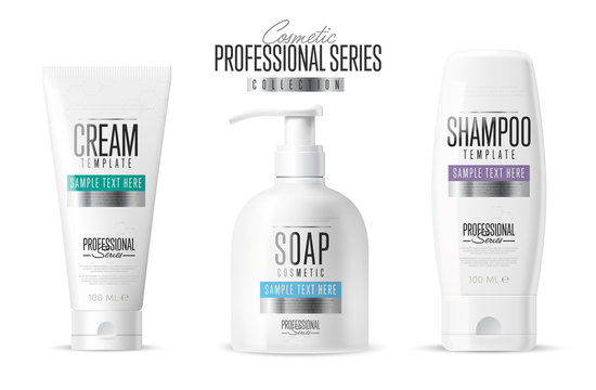 Body care, professional series. Cosmetic brand concept. Minimal design style. Tube cream, soap bottle, shampoo packing. Vector template. Realistic cosmetic packaging isolated on white background.