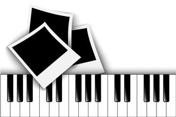 Piano keys. Retro photo frame
