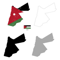 Jordan country black silhouette and with flag on background