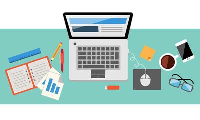 office workspace vector illustration