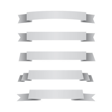 Set of grey ribbons isolated on white background