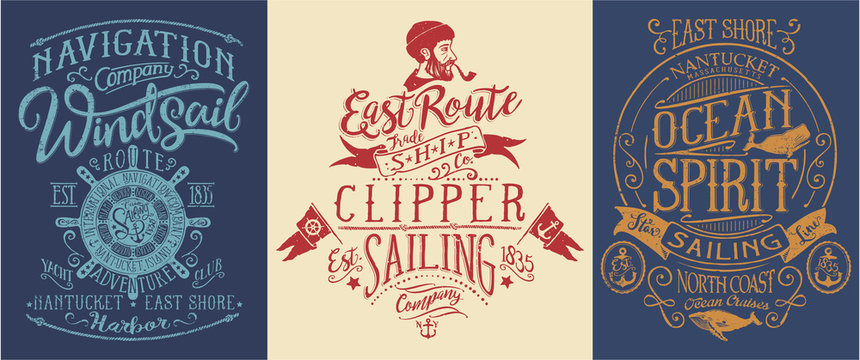 Vintage nautical and sailing graphics for t shirt