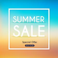 Summer Sale Banner. Sale Poster, Sale Flyer, Sale Vector. Blurre