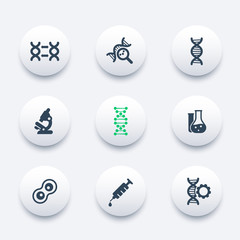 genetics icons, dna chain vector pictogram, genetic modification, dna replication, genetic research, laboratory, round modern icons set, vector illustration