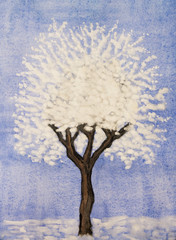 White tree on blue, painting