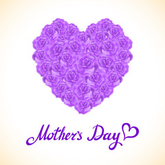 bouquet of violet roses heart isolated on white background. pink rose mother Day Heart Made of violet Roses Isolated on White Background. Floral heart shape vector background