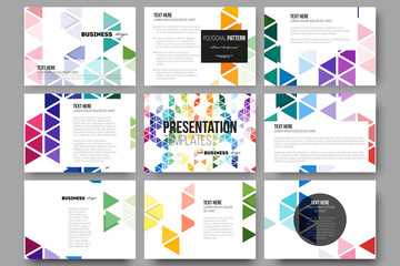 Set of 9 templates for presentation slides. Abstract colorful business background, modern stylish hexagonal and triangle vector texture